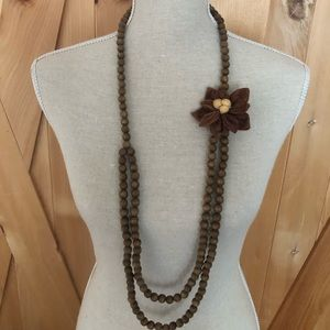 Boho Chic wooden bead necklace